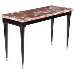 Midcentury Italian Marble-Top and Lacquered Wood Console Table, 1950s