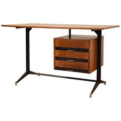 Midcentury Italian Metal and Wood Writing Desk, 1950s