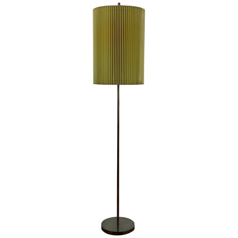 Midcentury Italian Metal Brass-Plated Lime Green Lampshade Floor Lamp