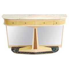 Midcentury Italian Mirror Console Table with Marble Top and Base