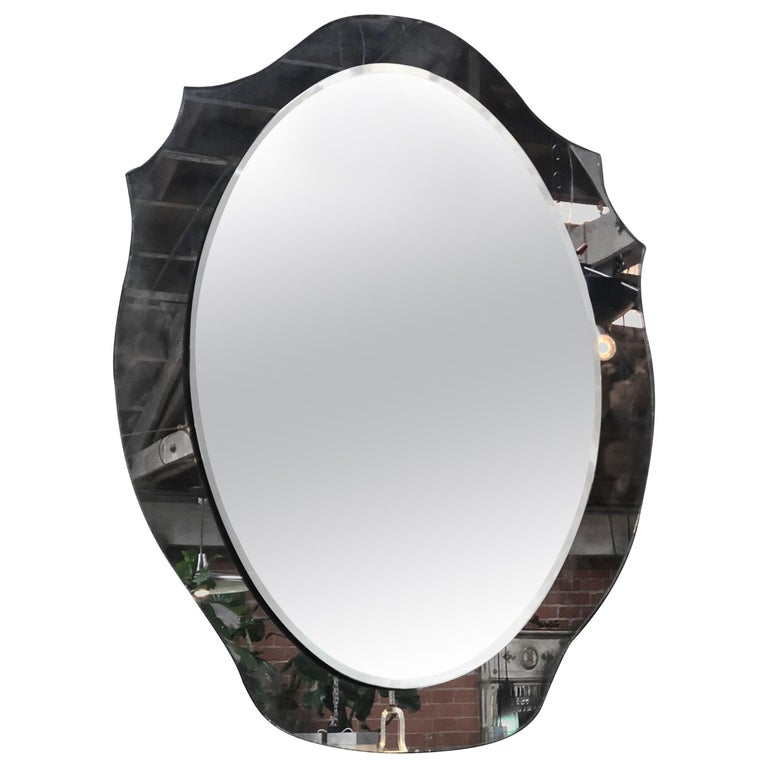Midcentury Italian Mirror with Crystal, 1969 For Sale