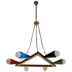 Midcentury Italian Modern Brass Chandelier after Stilnovo or Arteluce