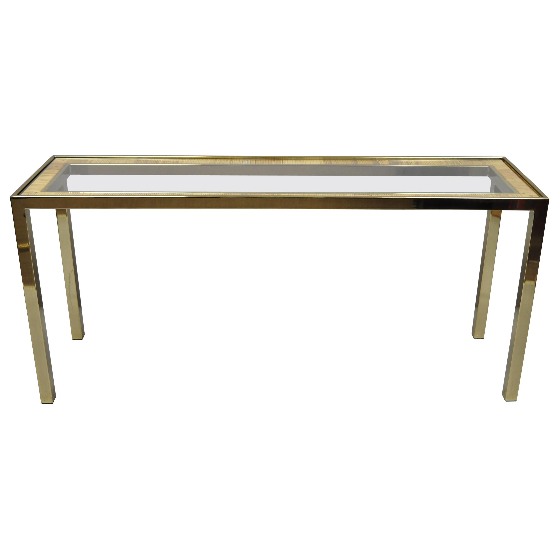 Midcentury Italian Modern Brass Glass Rattan Wicker Sofa Hall Console Table