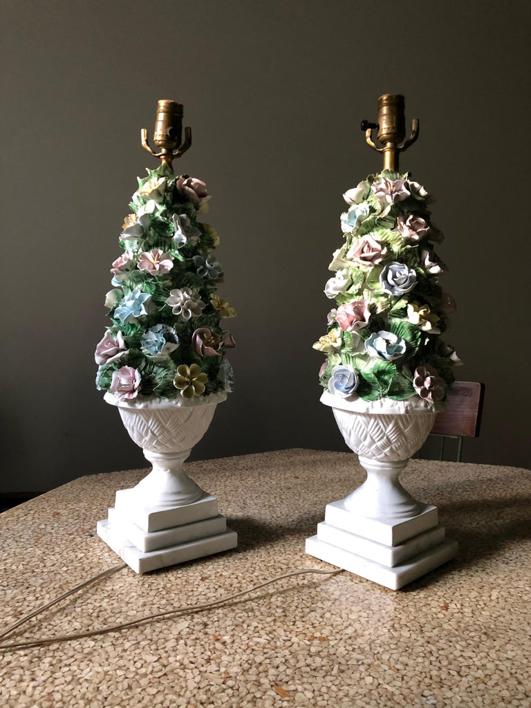 Mid-Century Modern Midcentury Italian Modern Capodimonte Porcelain Topiary Floral Table Lamps For Sale