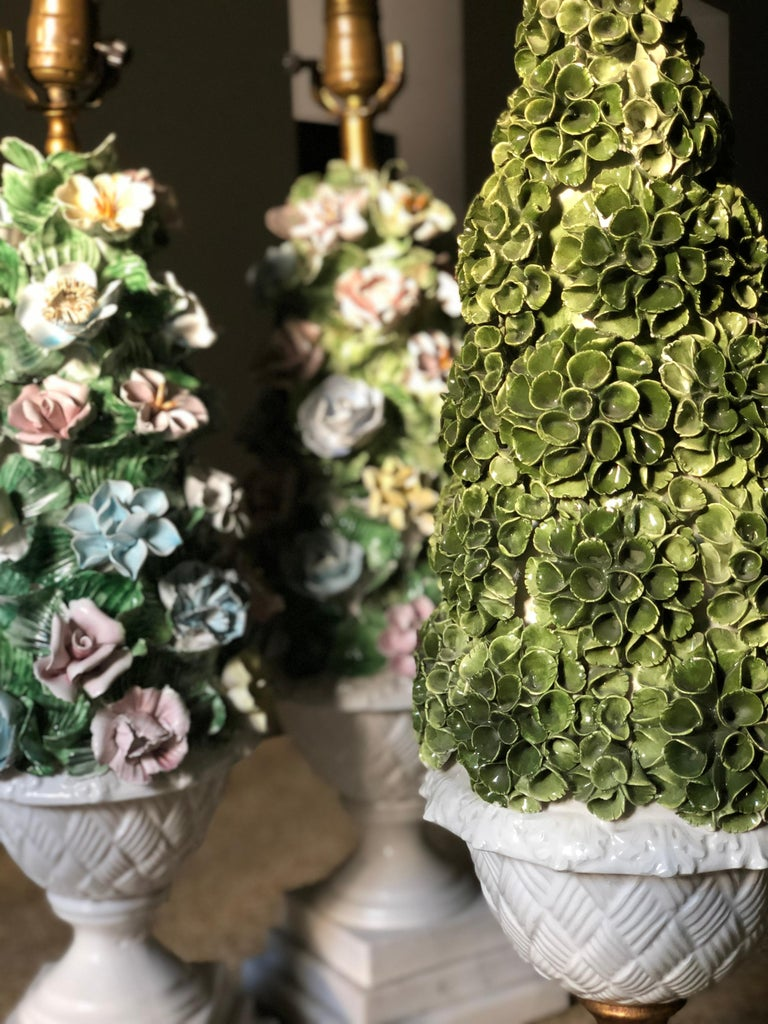 20th Century Midcentury Italian Modern Capodimonte Porcelain Topiary Floral Table Lamps For Sale