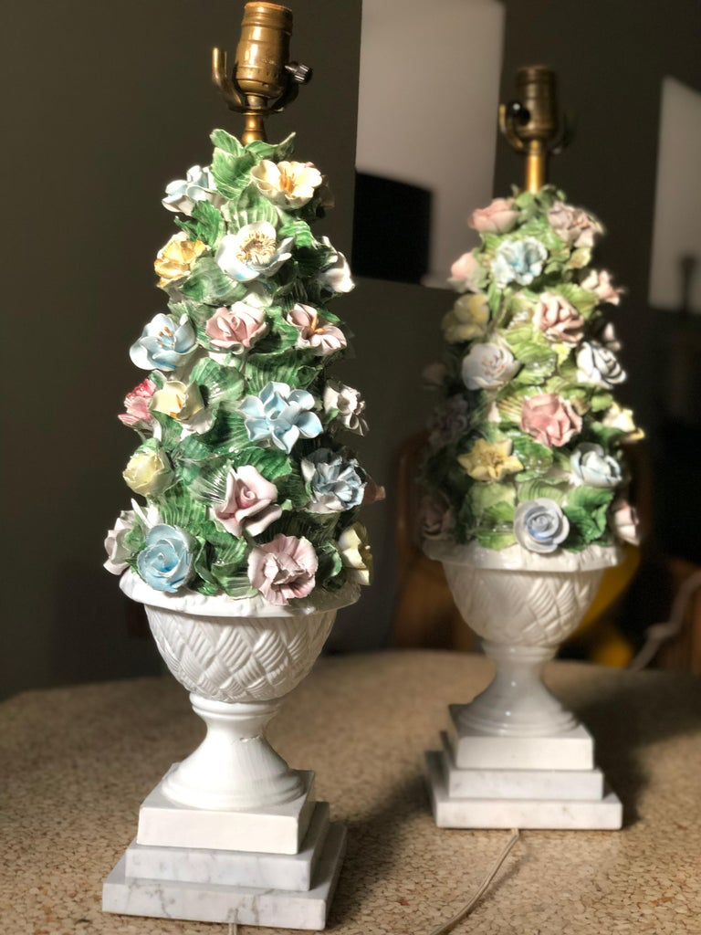 Midcentury Italian Modern Capodimonte Porcelain Topiary Floral Table Lamps For Sale 1