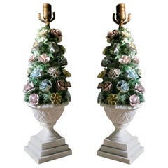 Midcentury Italian Modern Capodimonte Porcelain Topiary Floral Table Lamps