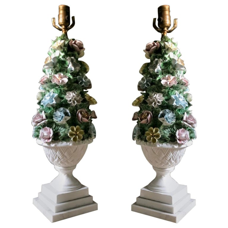 Midcentury Italian Modern Capodimonte Porcelain Topiary Floral Table Lamps For Sale