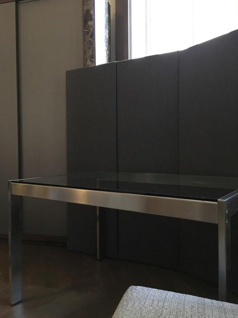 Cast Midcentury Italian Modern Design Brushed Steel Clear Crystal Rectangular Desk For Sale