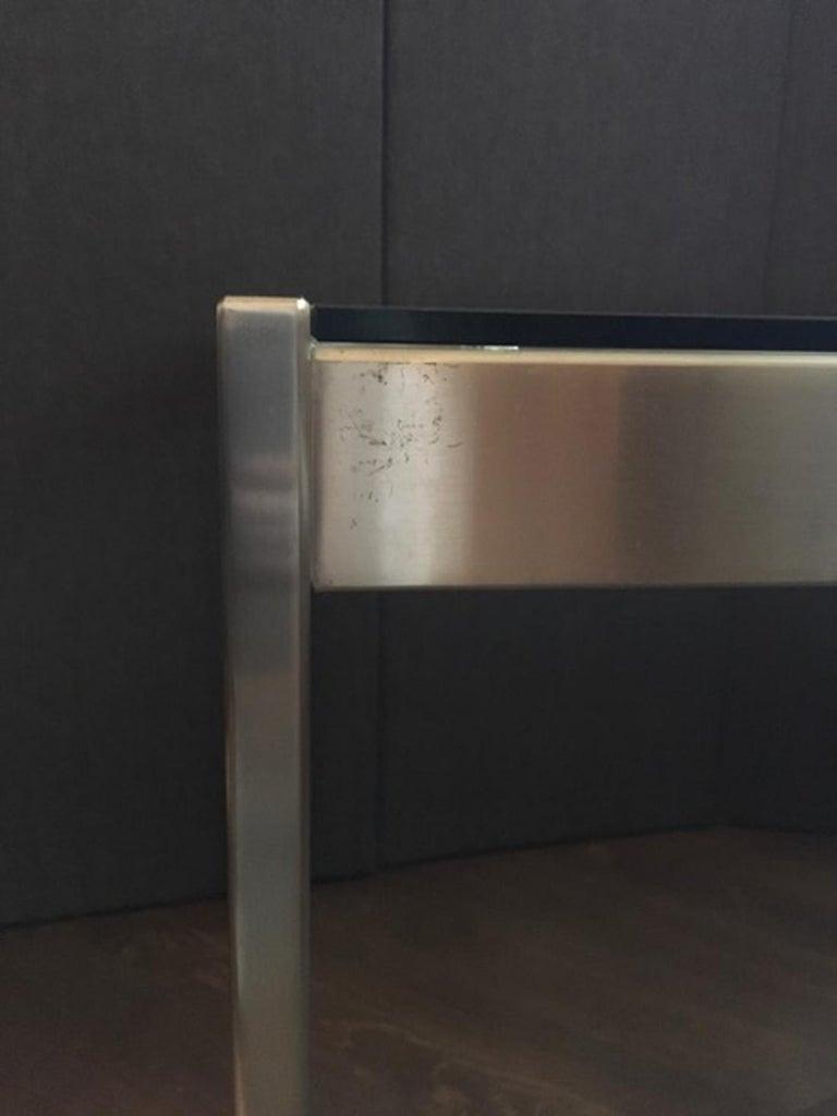 20th Century Midcentury Italian Modern Design Brushed Steel Clear Crystal Rectangular Desk For Sale