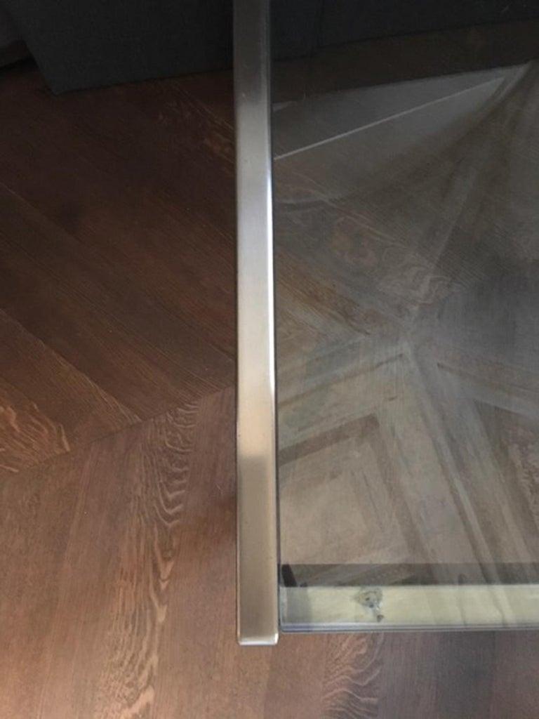 Glass Midcentury Italian Modern Design Brushed Steel Clear Crystal Rectangular Desk For Sale