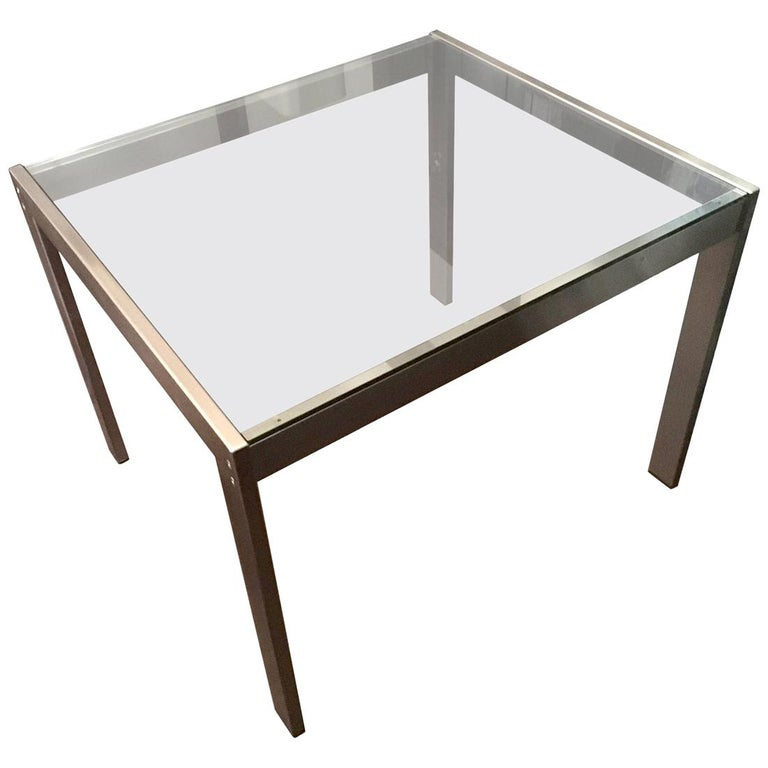 Midcentury Italian Modern Design Brushed Steel Clear Crystal Rectangular Desk For Sale