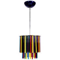 Midcentury Italian Modern Glass Murano Complementary  Mondrain Color Chandelier