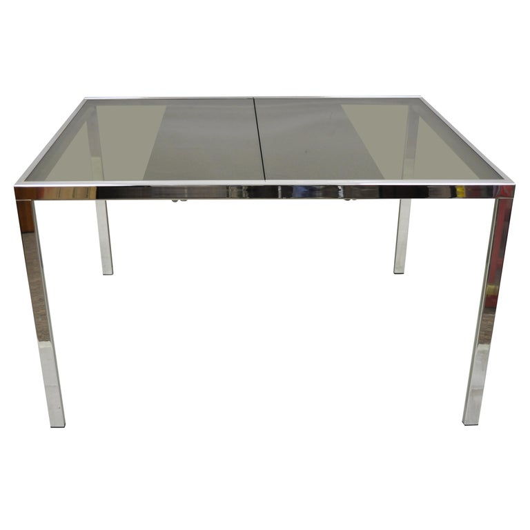 Midcentury Italian Modern Chrome and Glass Extension Dining Table For Sale