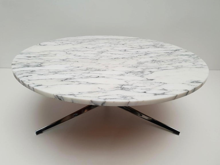 Midcentury Italian Modern Polished Metal and Marble Round Circular Coffee Table For Sale 9