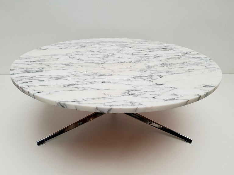 Mid-Century Modern Midcentury Italian Modern Polished Metal and Marble Round Circular Coffee Table For Sale