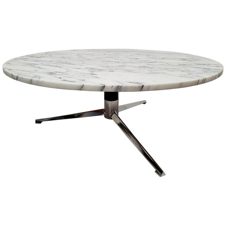 Midcentury Italian Modern Polished Metal and Marble Round Circular Coffee Table For Sale