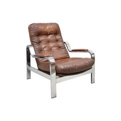 Midcentury Italian Modern Selig Chrome Reclining Recliner Lounge Chair
