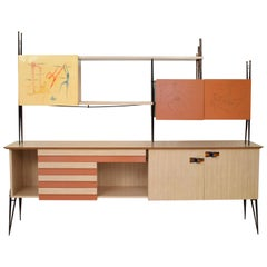 Midcentury Italian Multi-Color Sideboard Ico Parisi Style, Paolo di Poli enamels