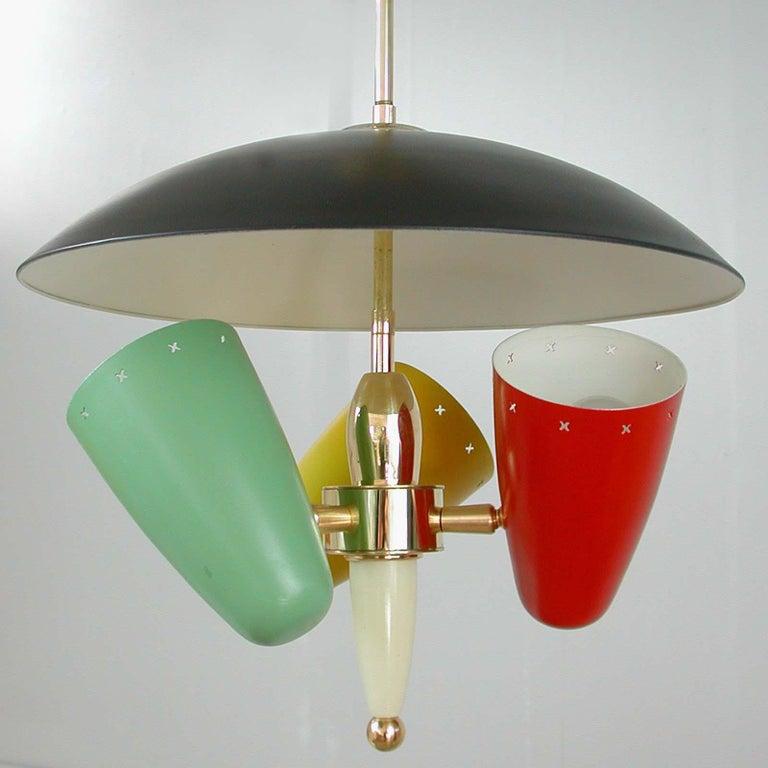 Midcentury Italian Multi-Color Chandelier, 1950s For Sale 4