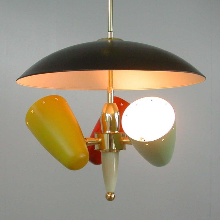 Midcentury Italian Multi-Color Chandelier, 1950s For Sale 5