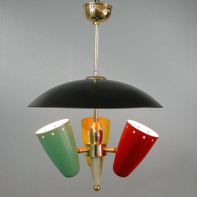 Midcentury Italian Multi-Color Chandelier, 1950s For Sale 6