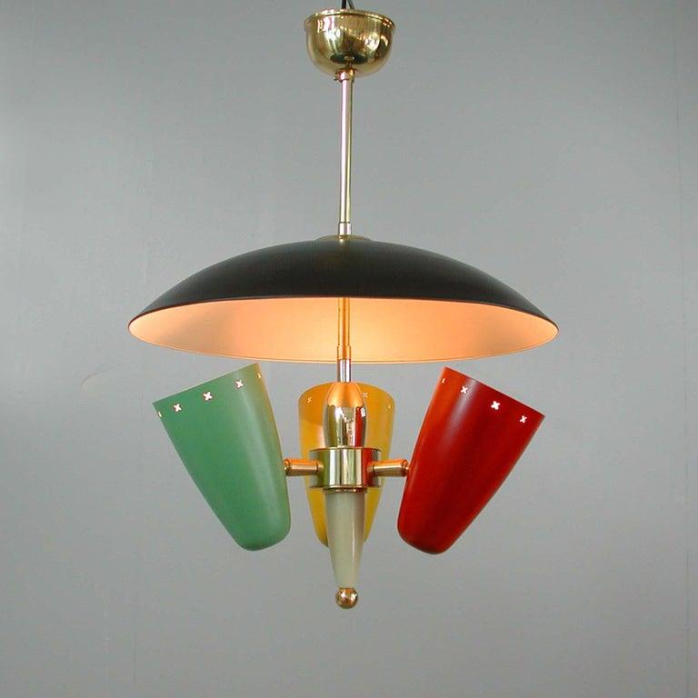 Midcentury Italian Multi-Color Chandelier, 1950s For Sale 7