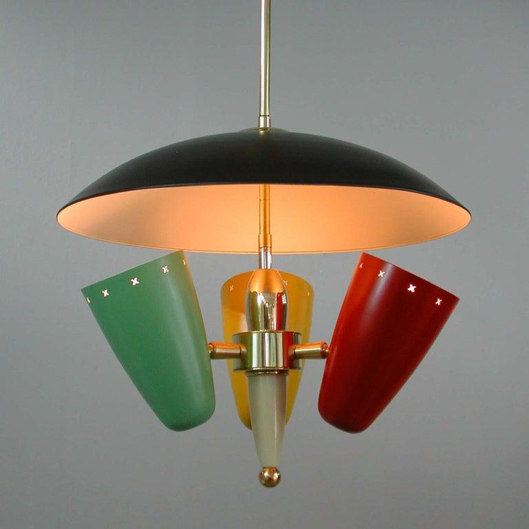 Midcentury Italian Multi-Color Chandelier, 1950s For Sale 8