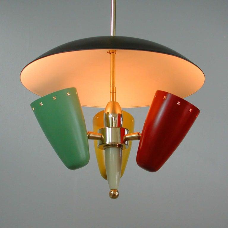 Midcentury Italian Multi-Color Chandelier, 1950s For Sale 9