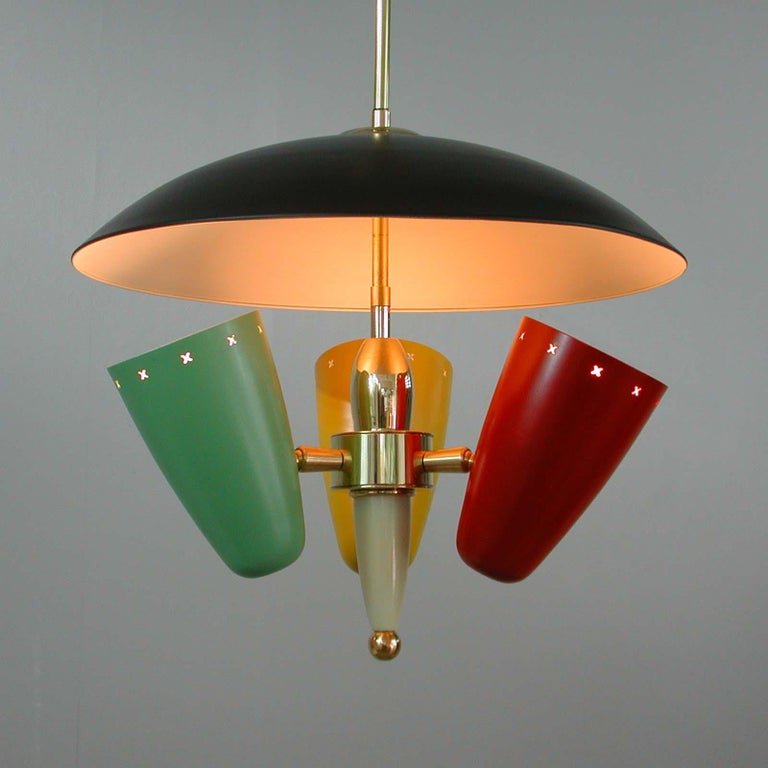 Midcentury Italian Multi-Color Chandelier, 1950s For Sale 10