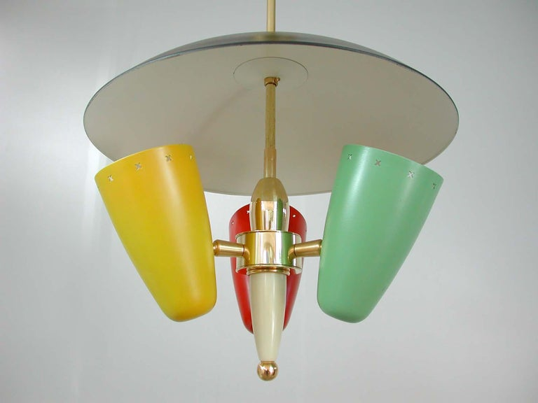 Midcentury Italian Multi-Color Chandelier, 1950s In Good Condition For Sale In Nümbrecht, NRW