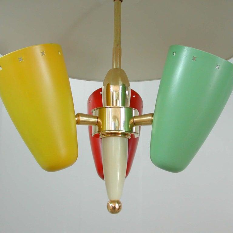 Mid-20th Century Midcentury Italian Multi-Color Chandelier, 1950s For Sale