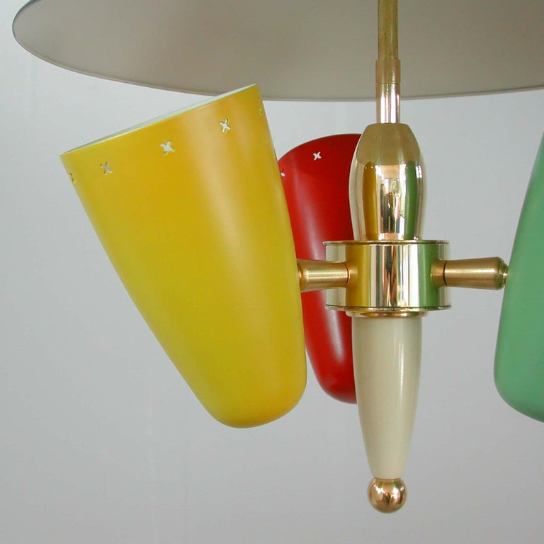 Midcentury Italian Multi-Color Chandelier, 1950s For Sale 1
