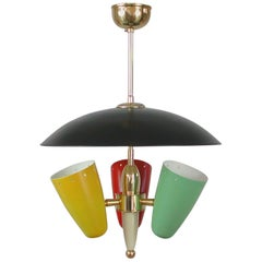 Midcentury Italian Multi-Color Chandelier, 1950s
