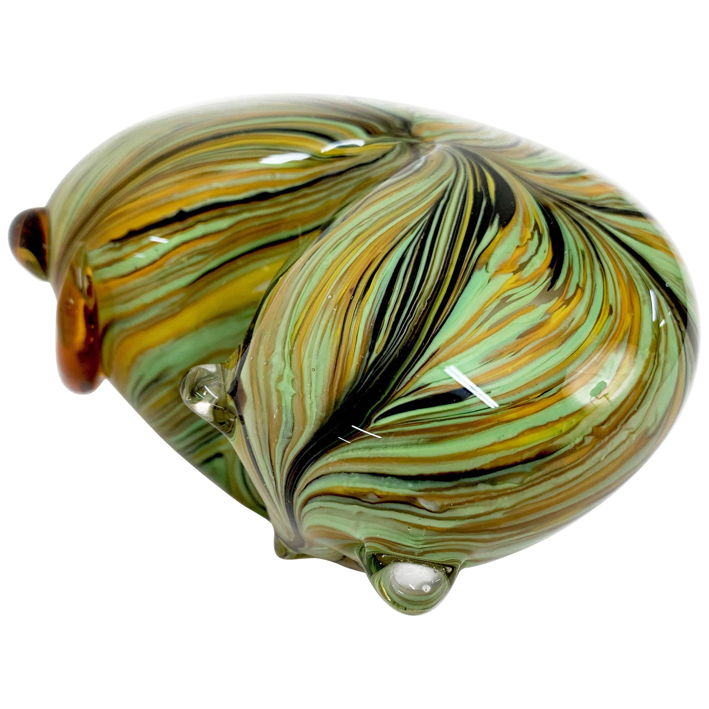 "Midcentury Italian Multicolored Murano Glass ""Chubby"" Cat Sculpture, 1970s"