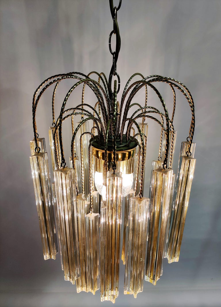 Midcentury Italian Murano by Paolo Venini White and Yellow Crystal Chandelier For Sale 4