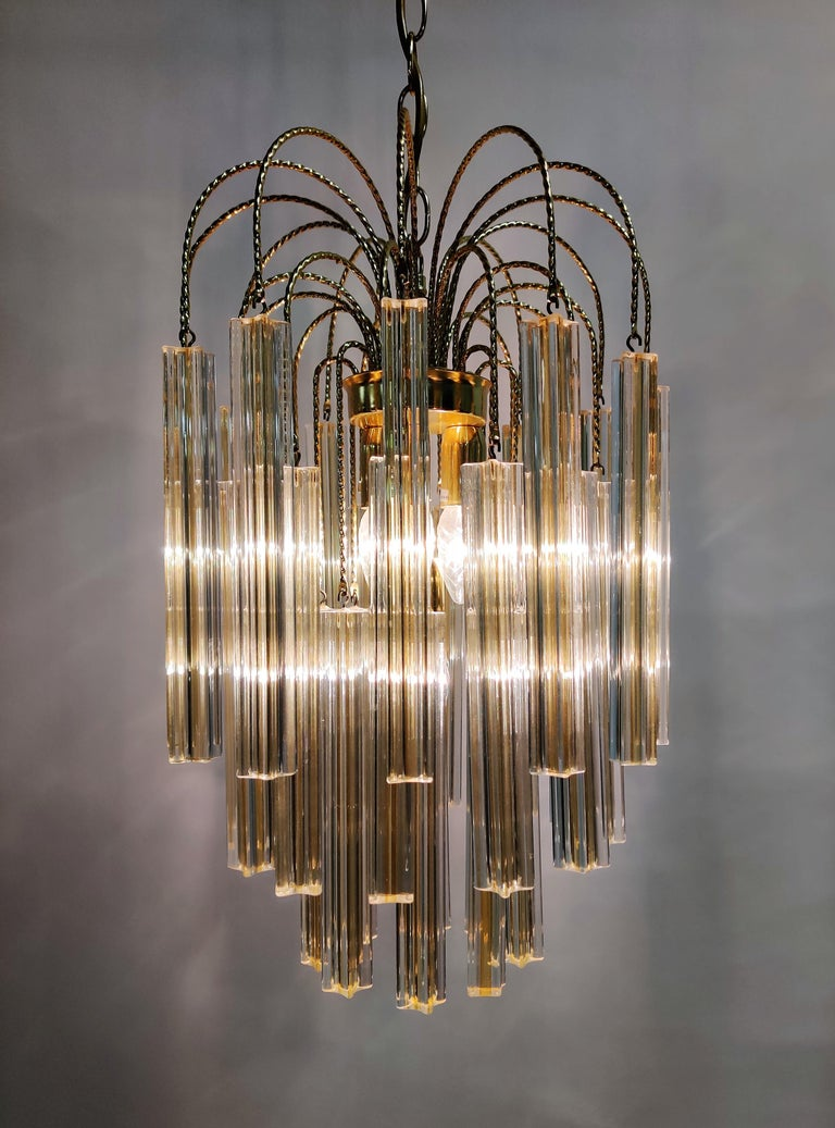 Midcentury Italian Murano by Paolo Venini White and Yellow Crystal Chandelier For Sale 5