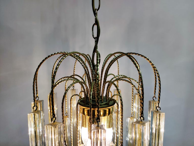 Midcentury Italian Murano by Paolo Venini White and Yellow Crystal Chandelier For Sale 6