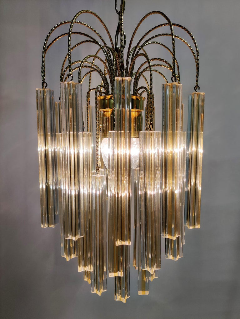 Midcentury Italian Murano by Paolo Venini White and Yellow Crystal Chandelier For Sale 7