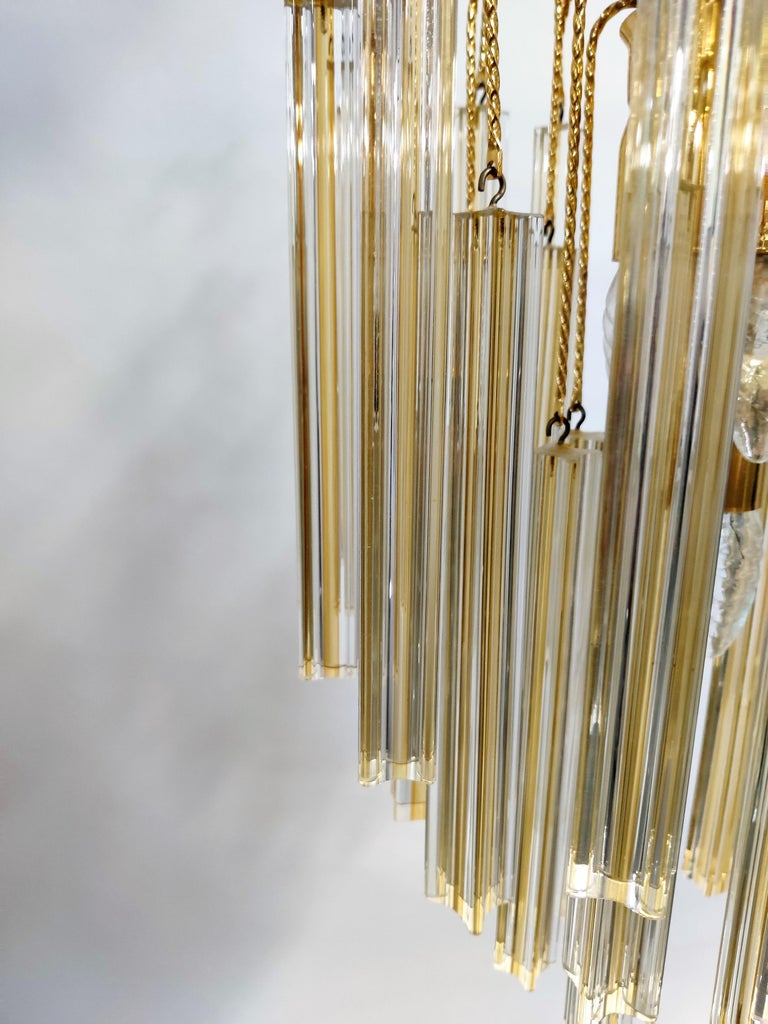 Midcentury Italian Murano by Paolo Venini White and Yellow Crystal Chandelier In Good Condition For Sale In Neervelp, BE