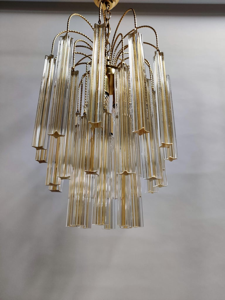 Late 20th Century Midcentury Italian Murano by Paolo Venini White and Yellow Crystal Chandelier For Sale