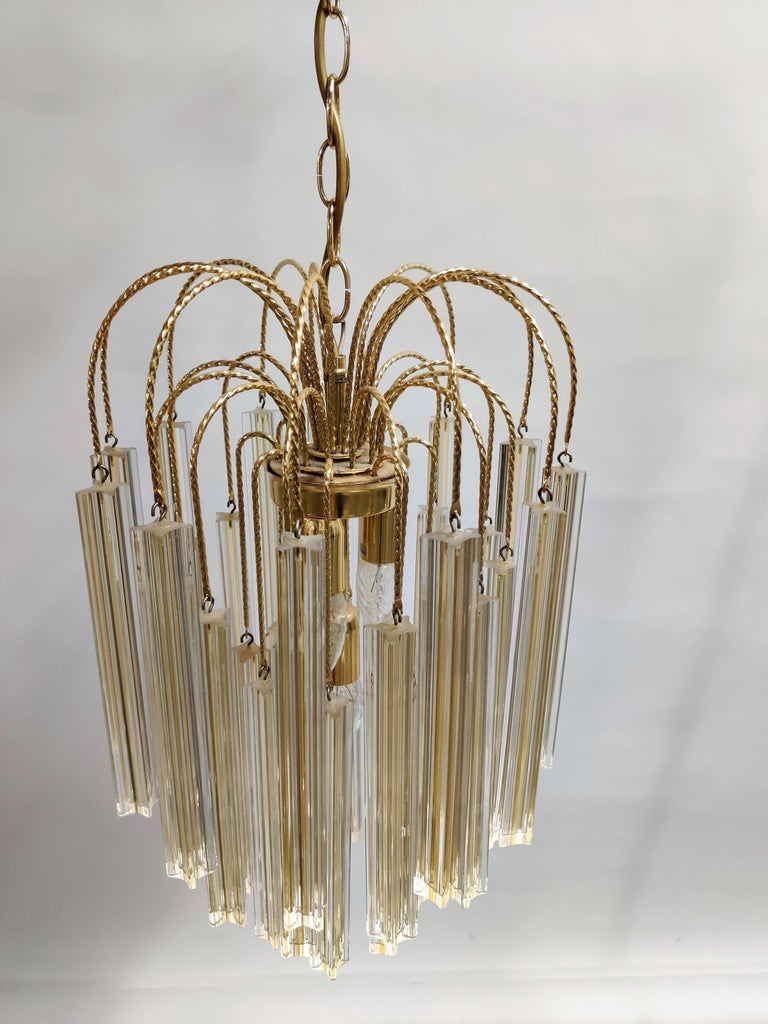 Metal Midcentury Italian Murano by Paolo Venini White and Yellow Crystal Chandelier For Sale