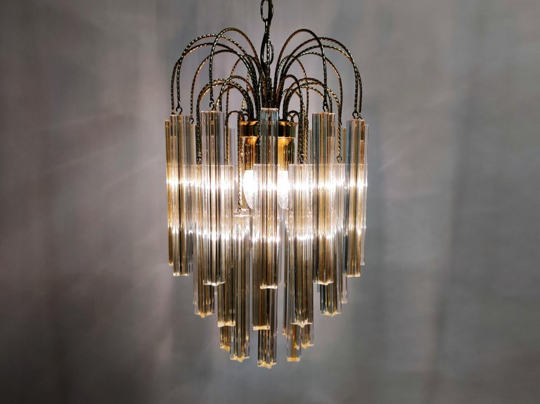 Midcentury Italian Murano by Paolo Venini White and Yellow Crystal Chandelier For Sale 1