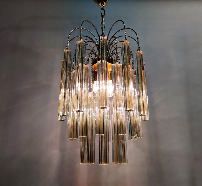 Midcentury Italian Murano by Paolo Venini White and Yellow Crystal Chandelier For Sale 2