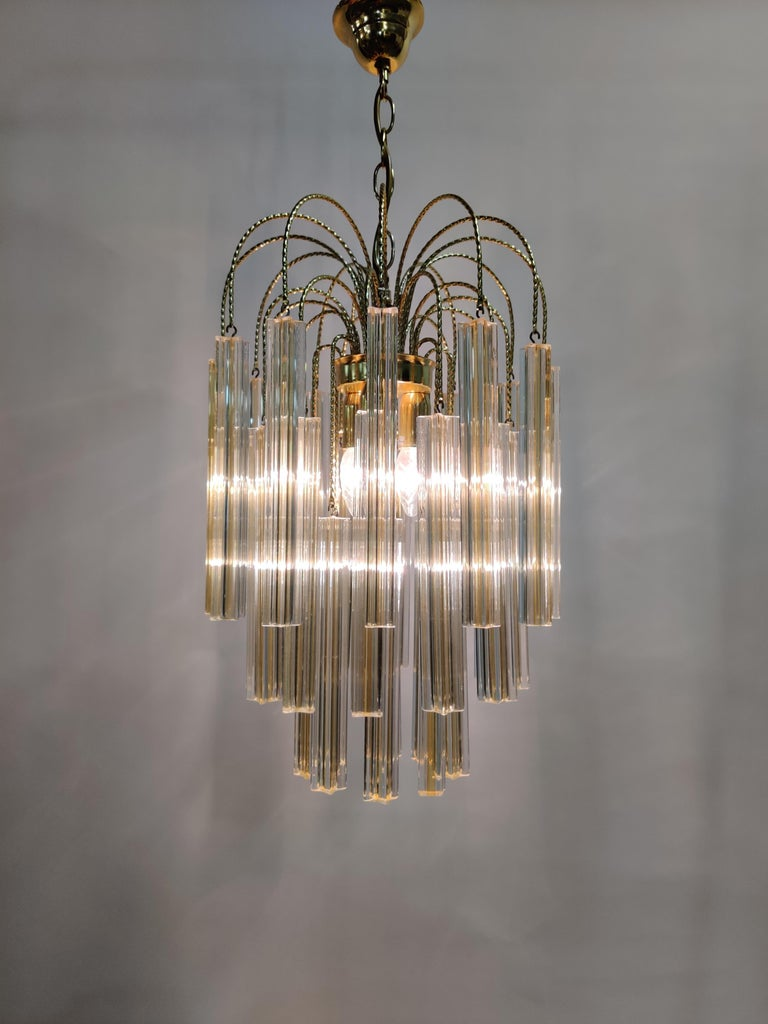 Midcentury Italian Murano by Paolo Venini White and Yellow Crystal Chandelier For Sale 3