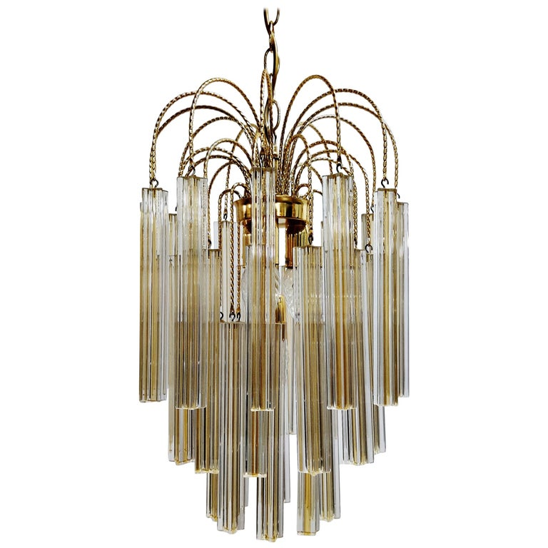 Midcentury Italian Murano by Paolo Venini White and Yellow Crystal Chandelier For Sale
