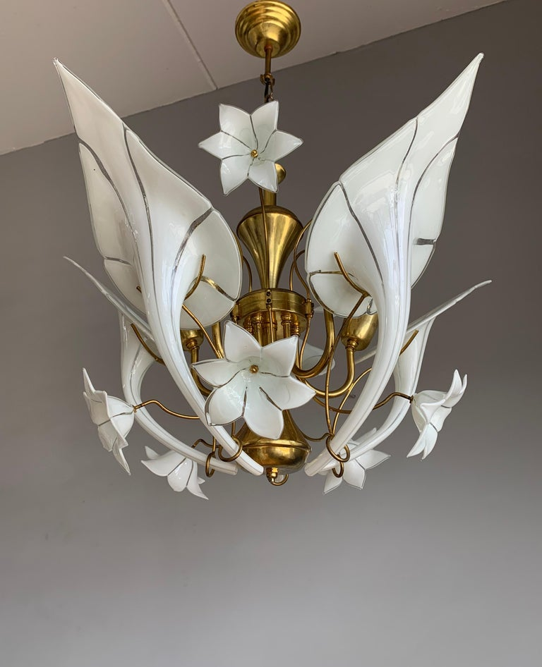 Midcentury Italian Murano Chandelier w. Stunning Mouthblown Glass Flower Shades For Sale 5