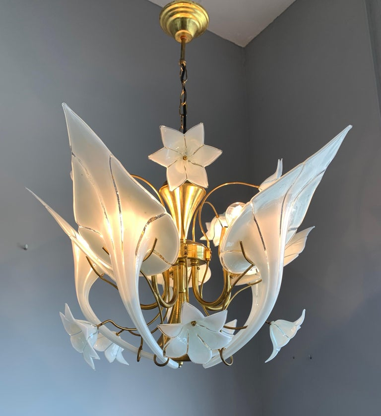 Hand-Crafted Midcentury Italian Murano Chandelier w. Stunning Mouthblown Glass Flower Shades For Sale