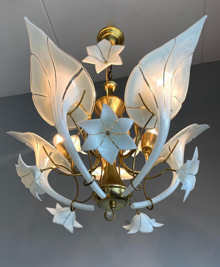 Blown Glass Midcentury Italian Murano Chandelier w. Stunning Mouthblown Glass Flower Shades For Sale
