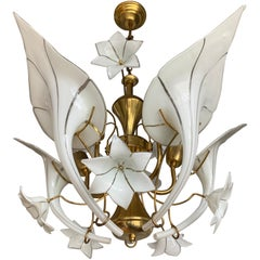 Midcentury Italian Murano Chandelier w. Stunning Mouthblown Glass Flower Shades
